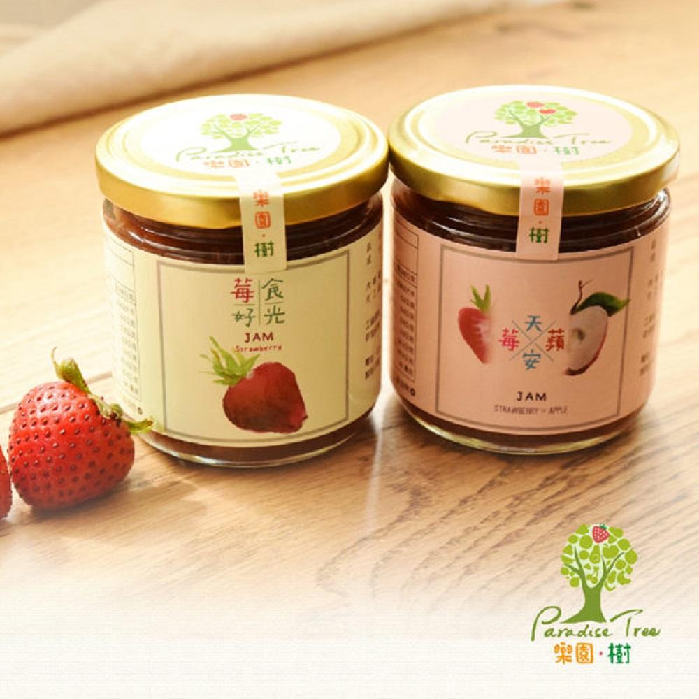 樂園樹 無農藥草莓果醬-莓好食光+莓天蘋安(共兩瓶)