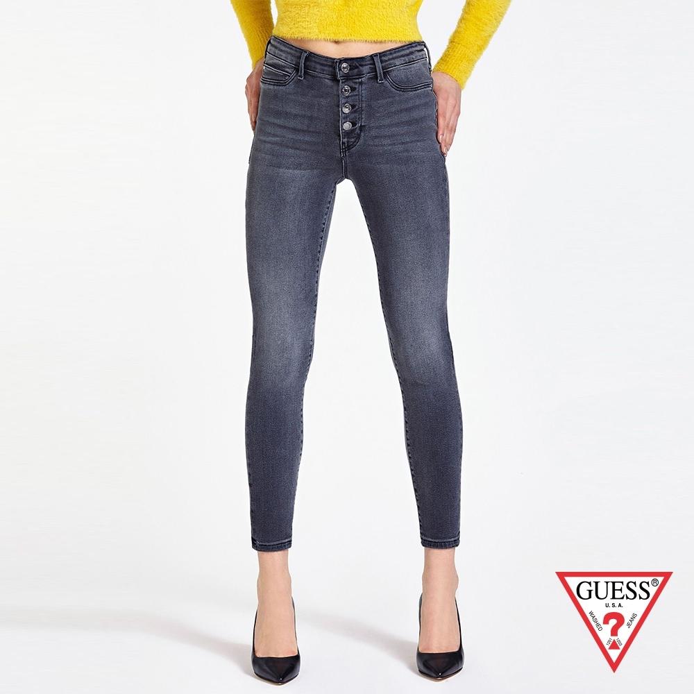 GUESS-女裝-排釦緊身牛仔褲-深灰 原價2990