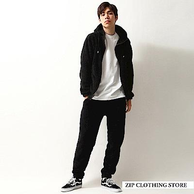 ZIP日本男裝 羊羔絨拉鍊連帽外套長褲兩件組(7色)