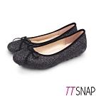 TTSNAP娃娃鞋-MIT全真皮晶鑽閃亮蝴蝶結柔軟平底鞋 黑