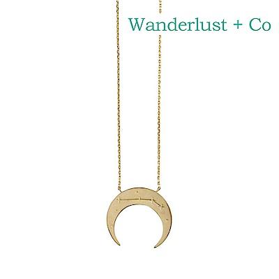 Wanderlust+Co 澳洲時尚品牌 白羊座鑲鑽新月項鍊 金色
