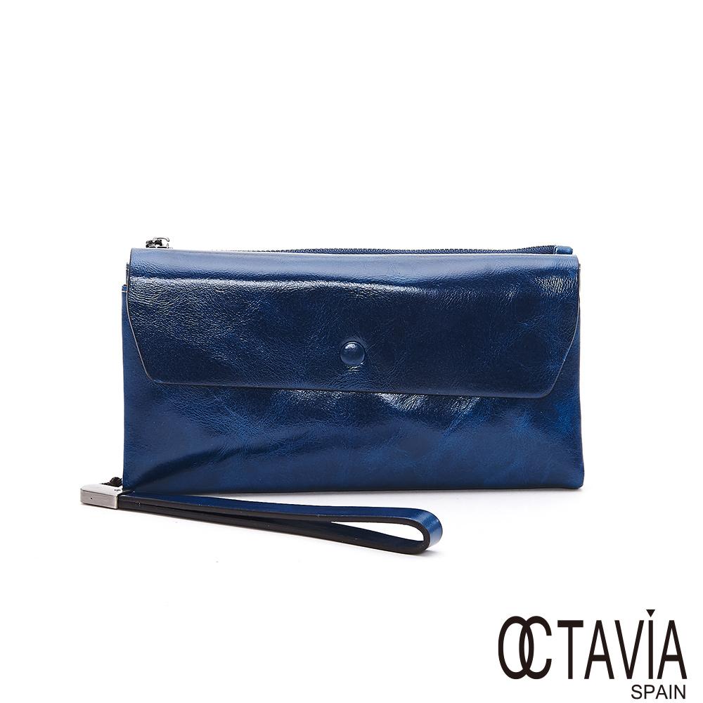 OCTAVIA8真皮 - 預見財富 油蠟牛皮信封式壓扣長夾 - 留錢藍
