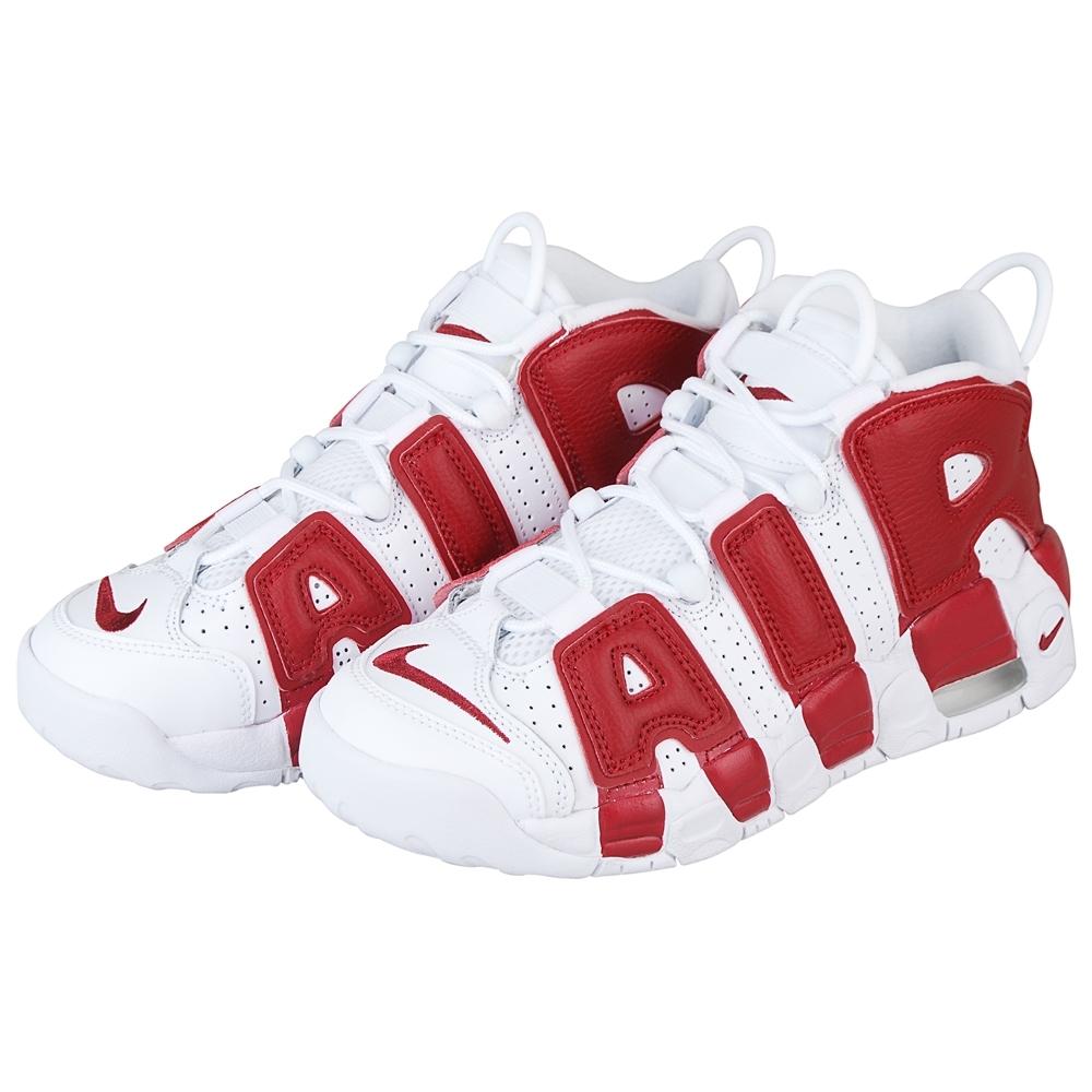 NIKE AIR MORE UPTEMPO 經典AIR字樣設計籃球鞋(女/紅+白)