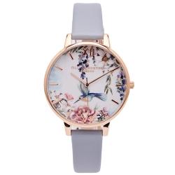 OLIVIA BURTON 鳥語花香款皮革錶帶手錶(OB16EG146)-花朵面X藍灰色/38mm