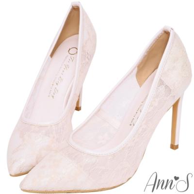 Ann'S迷樣誘惑-半透蕾絲性感尖頭高跟鞋 -粉(版型偏大)