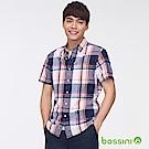 bossini男裝-棉麻格紋短袖襯衫紅藍格