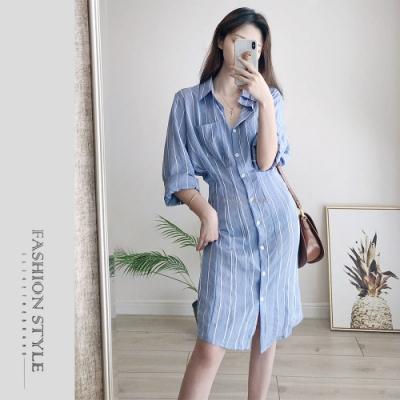 2F韓衣-簡約翻領條紋排扣洋裝-藍條(M-XL)
