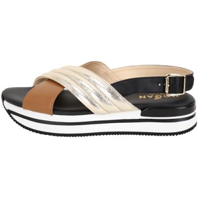 HOGAN H222 交叉配色絎縫厚底涼鞋(棕x金)