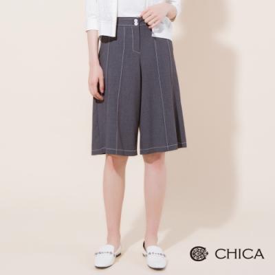 CHICA 優雅自在配色壓線五分寬褲(2色)