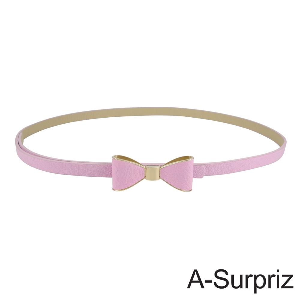 A-Surpriz 優雅金邊蝴蝶結細版腰帶(淺粉)