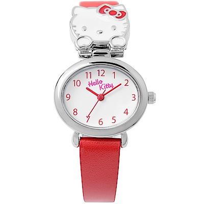 HELLO KITTY 可愛立體貓頭手錶 紅/27mm