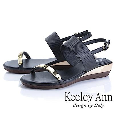 Keeley Ann簡約一字帶 金屬造型後環帶平底涼鞋(黑色)