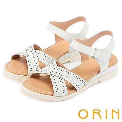 ORIN 愜意渡假風情 皮革洞洞條帶魔鬼氈厚底涼鞋-白色