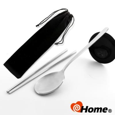i-home 304不鏽鋼 環保筷 加長厚勺韓式湯匙+方筷(絨布套-1入)