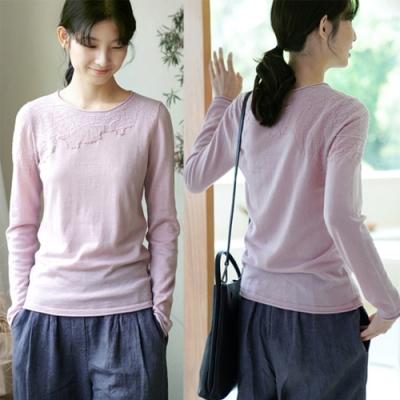 澳洲進口100綿羊毛手工刺繡紫色針織毛衣寬鬆-設計所在