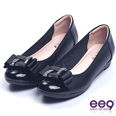 ee9 經典手工異材質併接柔軟舒適楔型娃娃鞋 黑色