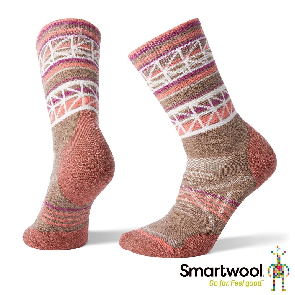 SmartWool 女 PhD戶外中級減震印花中長襪 棕色