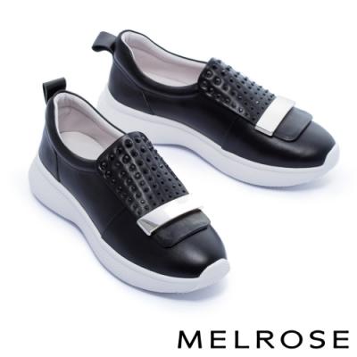 休閒鞋 MELROSE 舒適百搭晶鑽金屬釦全真皮厚底休閒鞋-黑