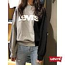 Levis 女款 大學T Oversize寬鬆版型 灰黑撞色 字母Logo