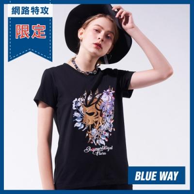 網路限定_鬼洗 BLUE WAY  -鬼洗女款永生花短TEE