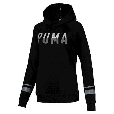 PUMA-女性基本系列Athletic長厚連帽T恤-黑色-亞規