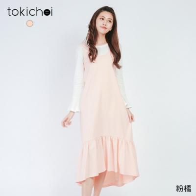 東京著衣 甜美女孩無袖荷葉下擺洋裝-S.M