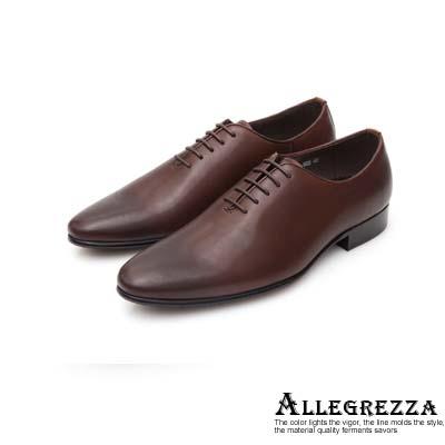 ALLEGREZZA真皮男鞋-簡約魅力-素面復古皮革繫帶皮鞋 咖啡紅色