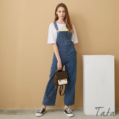 小口袋造型排釦牛仔吊帶長褲 TATA-(S~XL)