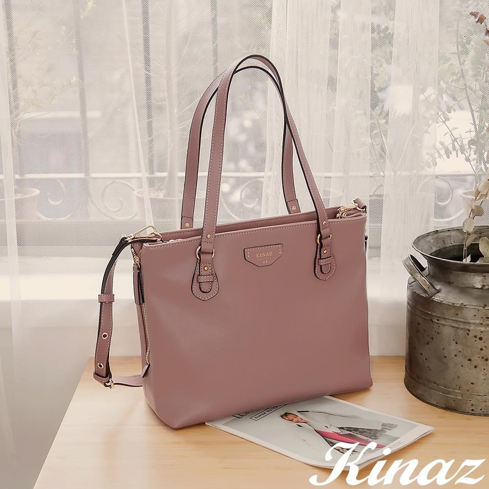 KINAZ casual 大容量手提斜背托特包-粉紅香檳-奇遇夢境系列