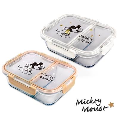 Disney 迪士尼 經典米奇 全分隔耐熱玻璃保鮮盒950ml(快)