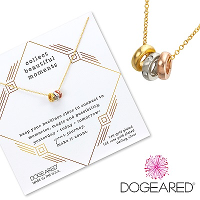 Dogeared Trio of rings 金X銀X玫瑰金 鑲鑽幸運三環金色項鍊