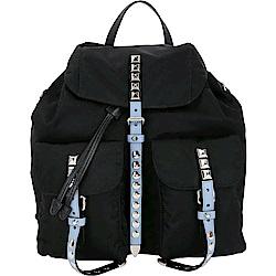 PRADA 水藍撞色皮革鉚釘尼龍後背包