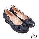 A.S.O 職場通勤 紓壓氣墊嚴選牛皮蝴蝶結奈米通勤鞋-藍