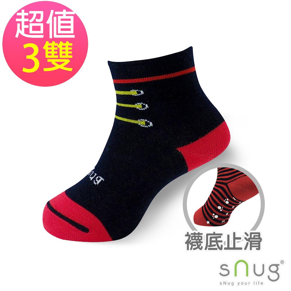 SNUG 可愛舒適無痕止滑除臭童襪-鞋帶紅(3入組)