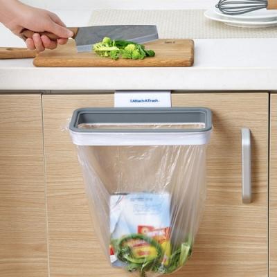 廚房帶蓋掛式垃圾桶支架 垃圾袋固定 垃圾筒