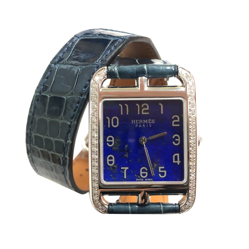 HERMES 青金石鑲鑽鱷魚皮雙圈石英腕錶(29mm-W043754WW00)