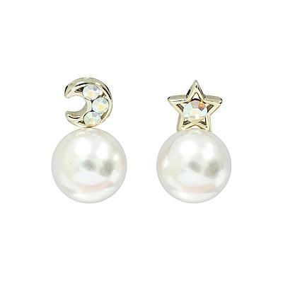 Prisme 美國時尚飾品 探索星空水晶珍珠 金色針式耳環