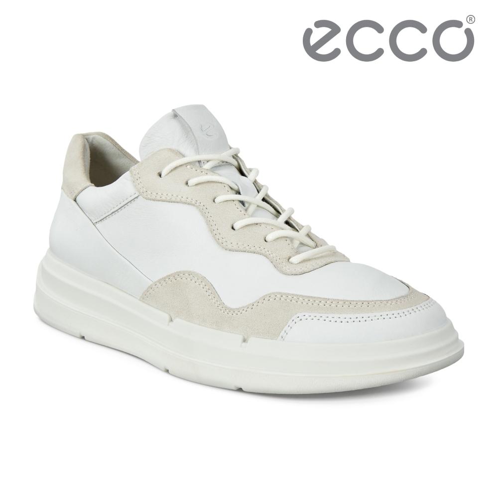 ECCO SOFT X W 拼接運動風休閒鞋 女鞋 白色