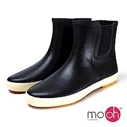 mo.oh-素面短筒防水橡膠雨鞋-黑色