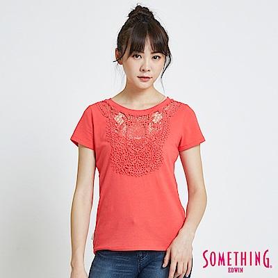 SOMETHING 花邊蕾絲圓領短袖T恤-女-桔紅