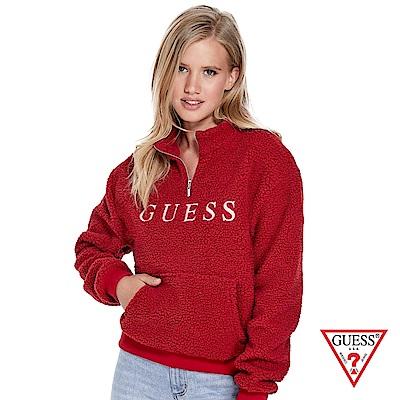 GUESS-女裝-羊羔毛長袖上衣-紅
