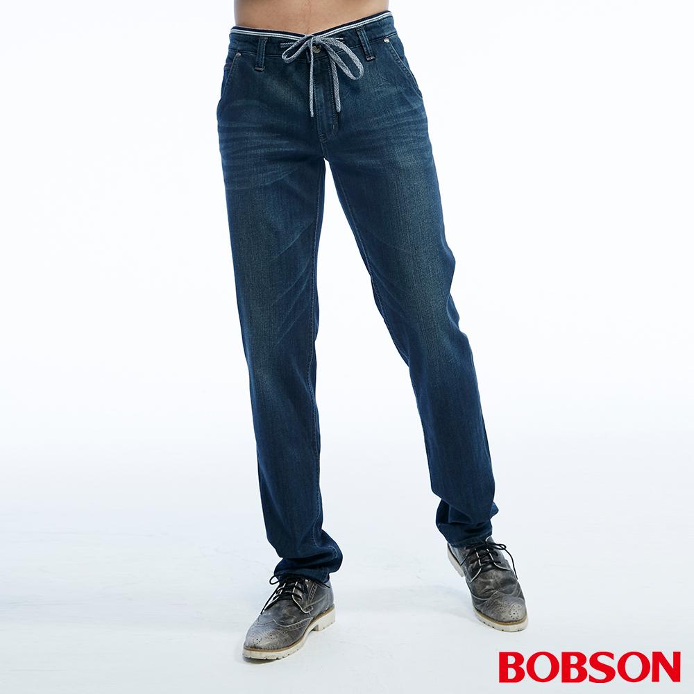 BOBSON 男款低腰綁繩彈性深藍直筒褲