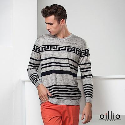 歐洲貴族 oillio 長袖線衫 紳士V領 圖騰條紋設計 灰色
