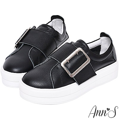 Ann'S激瘦第三代!!!全真牛皮銀色大方扣厚底小白鞋-黑