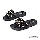 達芙妮DAPHNE 涼鞋-珍珠亮片舒適平底拖鞋-黑色