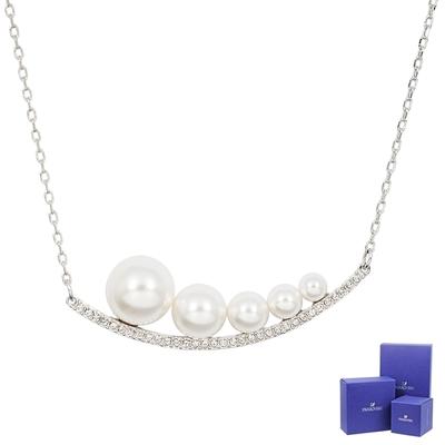 SWAROVSKI 施華洛世奇 Fundamental璀璨水晶珍珠微笑銀色項鍊