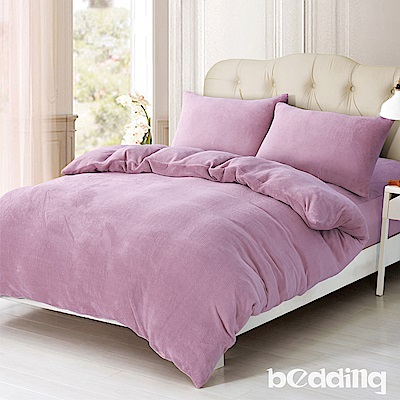 BEDDING-200克波斯絨-單人床包兩用毯被套三件組-初日藕粉