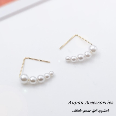 【Anpan 愛扮】日韓極簡三角小珍珠串耳釘式耳環