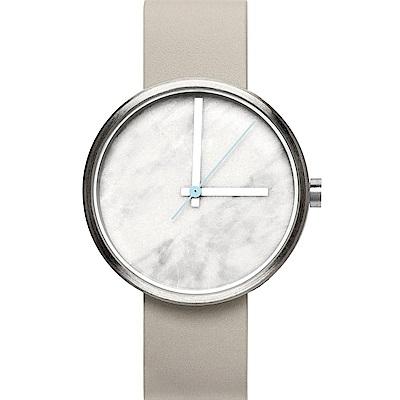AÃRK 時尚大理石灰真皮革腕錶 /白38mm