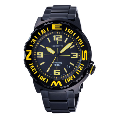 SEIKO 扭轉方向顛峰機械錶(SRP449K1)-黑黃/42mm